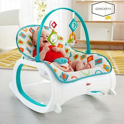 Fisher Price Infant Toddler Rocker Bouncer Chair Baby Soothing Seat Geo Diamonds