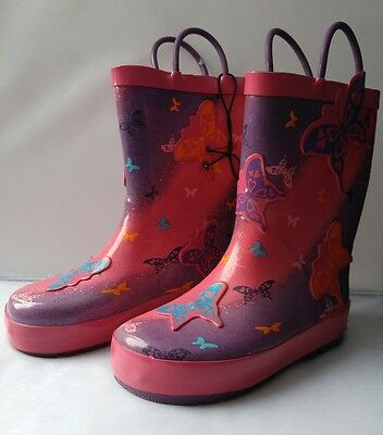 Girls Colourful Butterfly Design Size 8 rubber boots