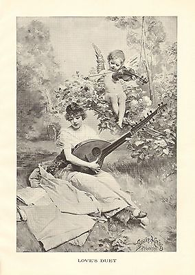 Music, Cupid, Angel, Guitar, Violin, Love's Duet, Vintage 1898 Antique Art Print