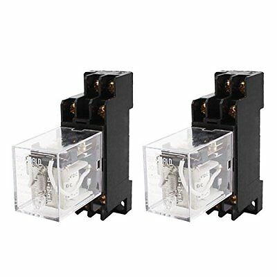 NEW 2PCS JQX 13F DC12V Coil DPDT 8Pin Power Electromagnetic Relay with Socket