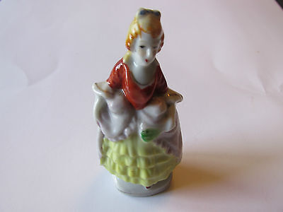 """Miniature Porcelain Figurine of Lady Standing Holding a Basket  Measures H 3"""""""