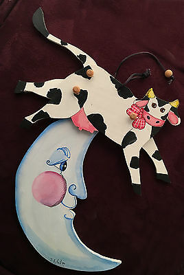 Hey Diddle Diddle Signed Folk Art Articulated Animated Wooden Toy Wall Art