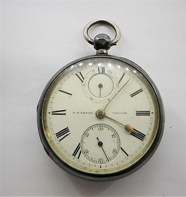 1881 Up - Down Dial Silver Fusee Pocket Watch W.H.Peake Codnor