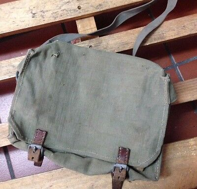 1960 Vintage Swiss Army Military Carpenter Shoulder Bag Leather and Canvas