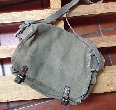 1955 Vintage Swiss Army Military Carpenter Shoulder Bag Leather and Canvas