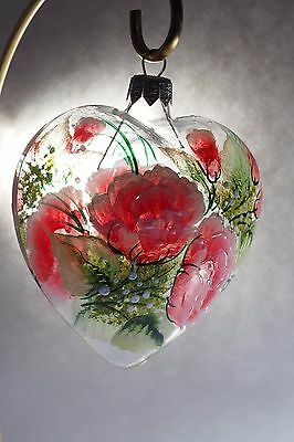 Valentine's day heart ornament xmas handpainted ball 3.5inch or 9cm size Russia