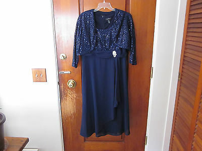 Navy Blue Sequined Lace Jacket Dress, Mother of the Bride, R&M Richards, size 14