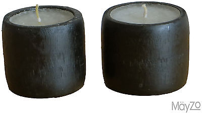Pair Small Black Round Candle Holder White Candle Pillar Table Rustic Light Two
