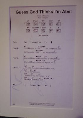 Beautiful Oasis Noel & Liam Hand Signed Autographed Music Song Sheet