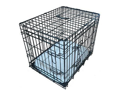Ellie-Bo Deluxe Extra Strong 2 Door Folding Dog Puppy Cage with Faux Sheepskin B