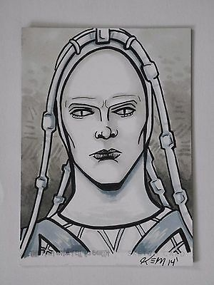 DAVID BOWIE THE MAN WHO FELL TO EARTH Sketch Card By Kevin Meinment