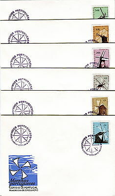 1971 Portugal. Windmills. SG 1407-1412. First Day Cover. Mountain Windmill