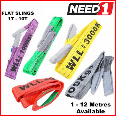 LIFT SAFE Flat Slings 1T-10T x 1M-12M c/w Test Certificate 100% Polyester
