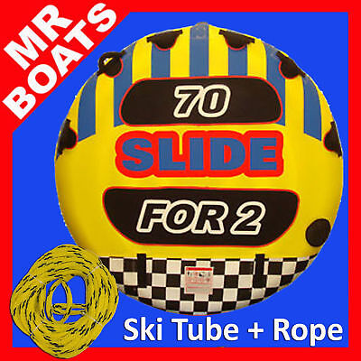 2 PERSON WATER SKI TUBE + TOW ROPE ✱ Slide 70 ✱ Flat Round BISCUIT new FREE POST
