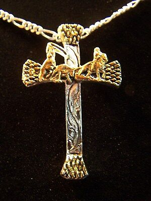 Western Sterling Silver Plated Team Roper Horseshoe Nail Cross Necklace