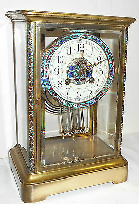 Rare French Cloisonne Brass Antique 8 Day Chime Clock Crystal Regulator Working
