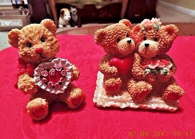 SET of 2 VALENTINE'S DAY RESIN BEAR FIGURINE or CAKE TOPPER HEARTS FLOWERS CANDY