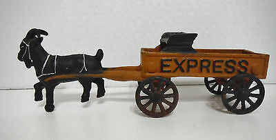 "Vintage Toy Cast Iron Goat Pulling Express Wagon - Reproduction 8 1/4"" Long"