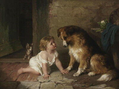 1875 Collie Puppy Dog with Cute Baby Girl & Kitten Cat ~NEW Large Note Cards