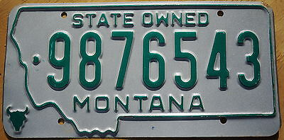 Rare Type Montana STATE OWNED SAMPLE License Plate # 9876543