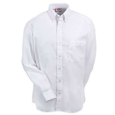 Dickies Men's Long Sleeve Button Down Oxford Shirt / White / 18.5 Reg / SS36WH
