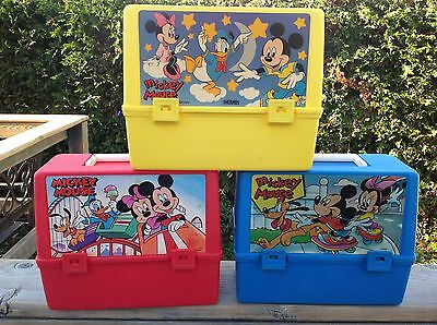 VTG LOT OF 3 Plastic Lunch Box MICKEY MOUSE: blue, red, yellow, by Thermos NICE!