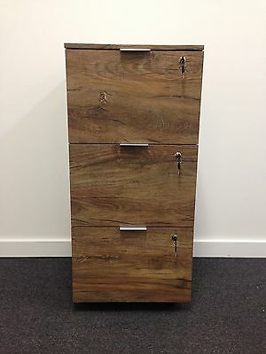 Stationary Cupboard Filing File Storage 3 DRW Cabinet With Lock- Oak