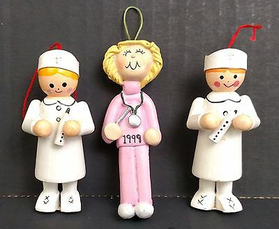 "Lot 3 Nurse Christmas Ornament White Wood & Pink Clay 3"" 1999"