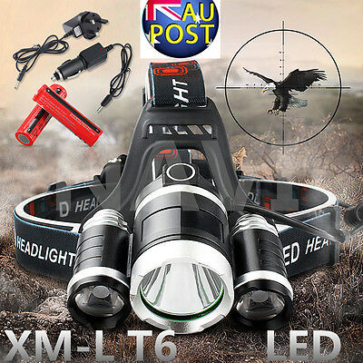13000Lm 3 Cree XML T6 LED Headlight Headlamp Torch Rechargeable light 18650 Lamp