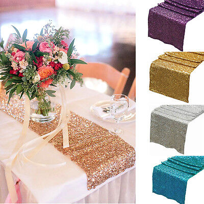 """12"""" x 108"""" Glamorous Sparkly Bling Sequin Table Runner for Wedding Party Decor"""