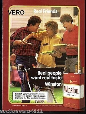 1987 magazine ad WINSTON cigarettes advertisement print BBQ friends outdoors