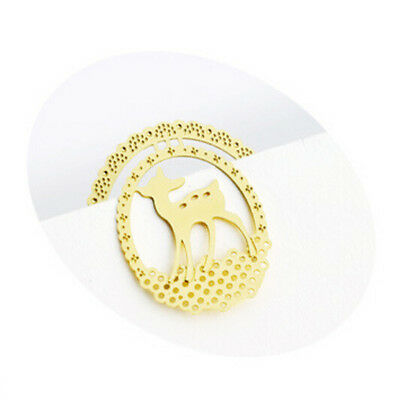 Hot 2Pcs Cute Animal Gold Plated Metal Hollow Deer Bookmark Book Paper Reading