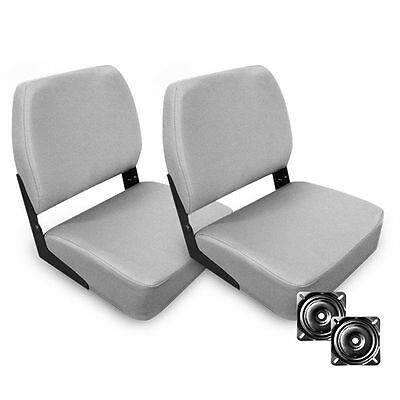 2 x Deluxe Swivel Folding Marine Boat Seats in Grey