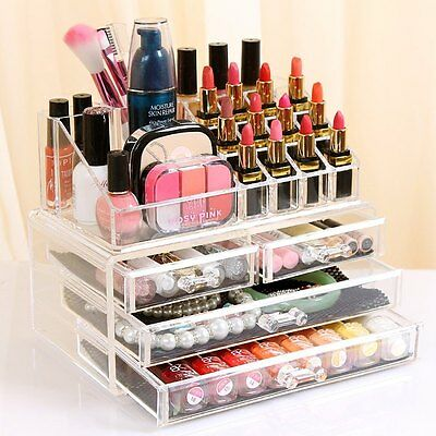 Clear Acrylic Makeup Holder Cosmetic Organizer 4 Drawer Storage Jewelry Box Hot