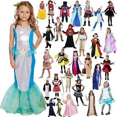 Girls Disney Princess Fancy Costume Party Dress Children School Kids Outfit 4-16