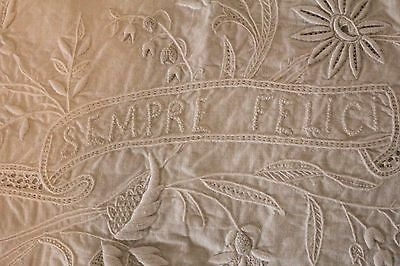 Antique Italian Wedding White Lace Embroidered Bed Sheet Pillow Cases Ever After