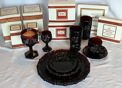 Two (2) Vintage Avon Ruby Red Cape Cod Place Settings - 8 Pieces each (16 total)