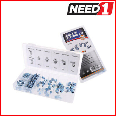 JMV 100pc Metric Grease Nipple Assortment Zinc Plated