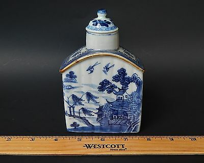 Antique Chinese Export Blue & White Tea Caddy Qianlong Period circa 1775