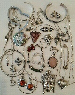 Sterling Silver Jewelry Lot Vintage HUGE COLLECTION