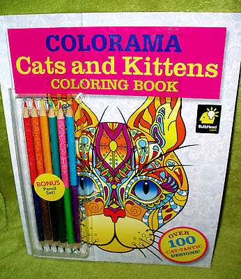 Colorama Cats Kittens Adult Coloring Book With Pencils Set NEW