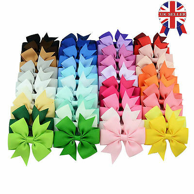 20 X Handmade Bow Hair Clip Alligator Clips Girls Ribbon Kids Sides Accessories