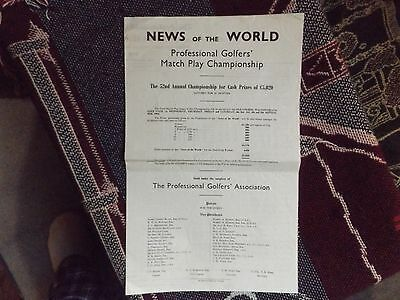 1964 Golf Scorecard Programme - Pga Match Play Championship - Walton Heath