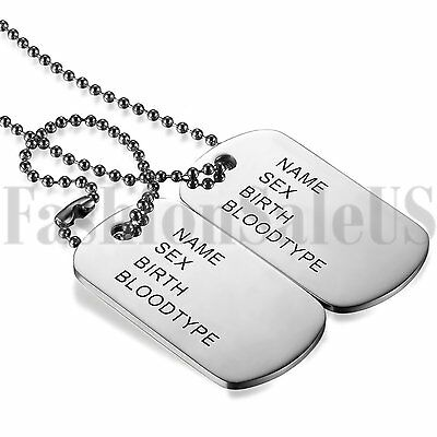 Men's Military Army Style Silver Tone 2 Dog Tags Beads Chain Pendant Necklace