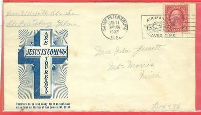 USA St Petersburg Fla JESUS IS COMING Are You Ready Advertising cover 1932