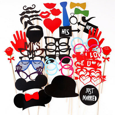 43x photo booth Masque cartonné his hers Mr Mrs Just Married fête party props