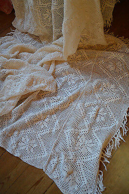 Vintage French hand made pure cotton crochet bed cover or throw