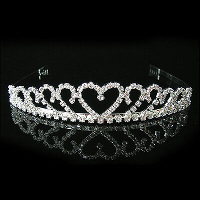 Faux Crystal Diamante Wedding Bridal Crystal Veil Tiara Crown Headband Headpwear