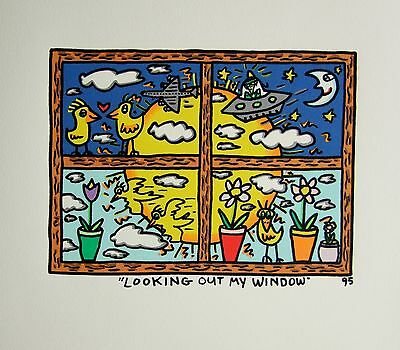James Rizzi Looking out my Window - Farblithografie