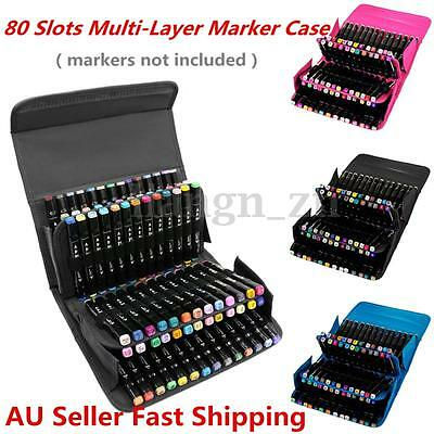 80 Slots Multi-Layer Art Markers Pens Carrying Storage Case Holders Portable Bag